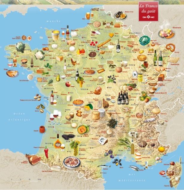 Гастрономическая карта Франции.