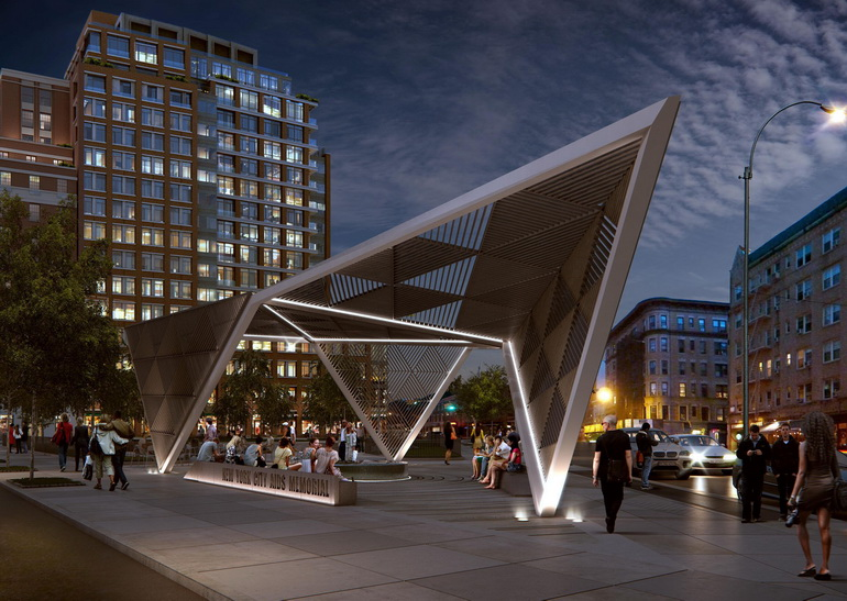The New York City AIDS Memorial will feature an 18-foot steel canopy as the dramatic gateway to the new St. Vincent's Hospital Park in the West Village neighborhood.  For more information or to support the memorial, visit http://AIDSMemorialPark.org.  Rendering: a2t for studio a i.  (PRNewsFoto/New York City AIDS Memorial, a2t for studio a i)