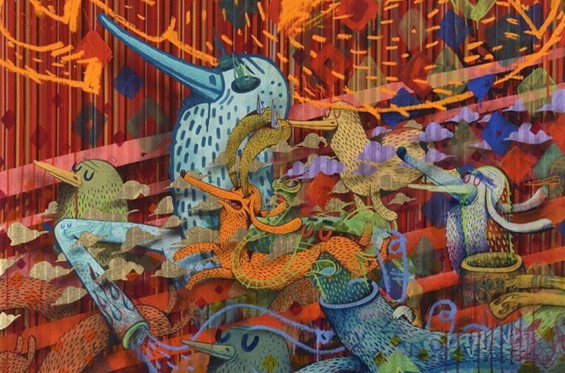 Одна из стен в 20-ом округе, оформленная Александром Дизаком, художником и иллюстратором из мира граффити.